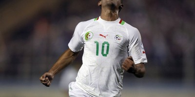 Algeria's Sofiane Feghouli celebrates after scoring against Rwanda during their World Cup 2012 qualifying soccer match at Tacheker stadium in Blida, southwest of Algiers