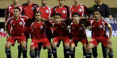 Yemen national team players pose for a group photo before the match against UAE during their Gulf Cup soccer match in Muscat