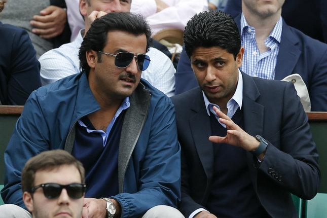 L'émir Tamim Al Thani et Nasser Al-Khelaifi  président du PSG à Paris