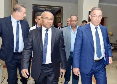 Fouzi Lekjaa accueillant Ahmad Ahmad e président de la CAF