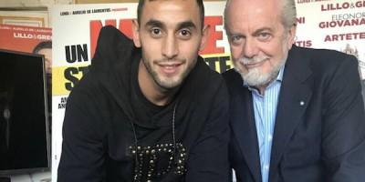 Faouzi Ghoulam et le président Aurelio De Laurentiis