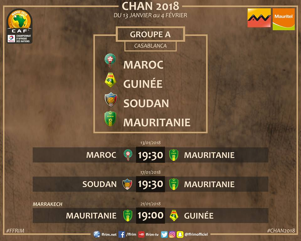 Le Calendrier de la Mauritanie au  CHAN  (photo FFRIM)