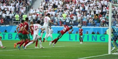 Comme l'Egypte face  à l'Uruguay , le Maroc s'est fait surprendre à la dernière minute du match par l'Iran  (photo fifa.com)
