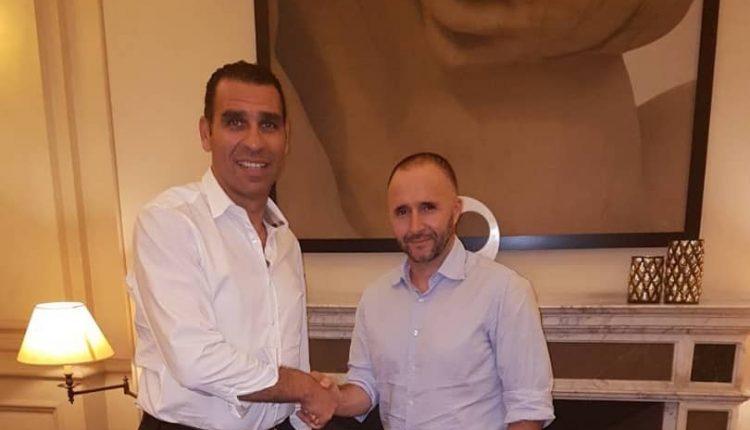 Le président de la FAF, Kheireddine Zetch,i saluant l'arrivée de Djamel Belmadi  à la tête des Fennecs (photo faf.dz)