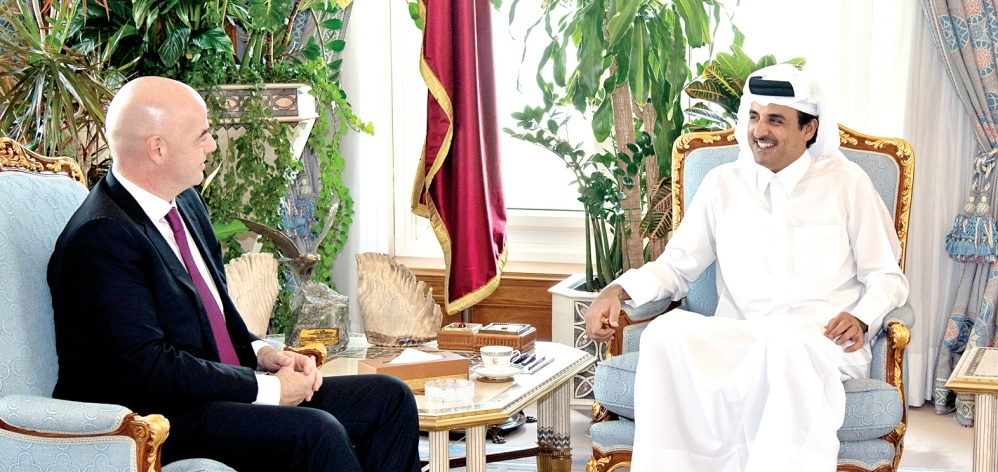 Gianni Inatino a été reçu le 24 octobre à Doha par l'Emir Sheikh Tamim bin Hamad Al –Thani  (photo qua.qa)