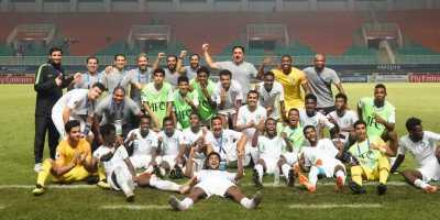 Les Faucons Verts U19 fête leur victoire face au Japon (2-0) et leur accession en finale de l'AFC U19 2018 (photo afc.com )