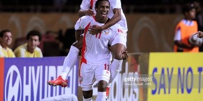 Ahmed Khalil félicité par un coéquipier après un but lors des éliminatoires du Mondial 2018 (photo Fifa.com )