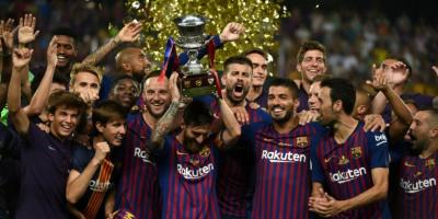 le FC Barcelone vainqueur de la Supercoupe  d'Espagne 2018 à Tanger (Maroc)