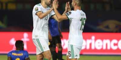 Delort et Slimani titularisés pour la première fois ensemble  contre La Tanzanie  (phoo cafonline.com)