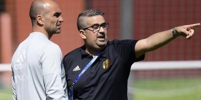 Moussa El-Habchi  avec Roberto Martinez, le sélectionneur espagnol des Diables Rouges de Belgique