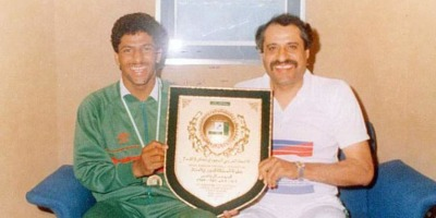 Khalil Ibrahim Al Zayani !à droite sur la photo ) , champion d'Asie en 194