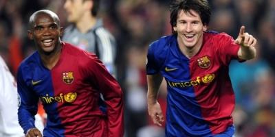 Lionel Mess- Samuel Eto'o, partenaires durant cinq ans au Barça