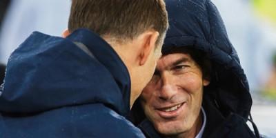 Zidane - Tuchel  lors de Real Madrid - Paris SG (3-0, 2-2)