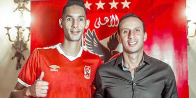 Badr Banoun  au coté du directeur du football, Amir Mansour, lors de sa présentation officielle