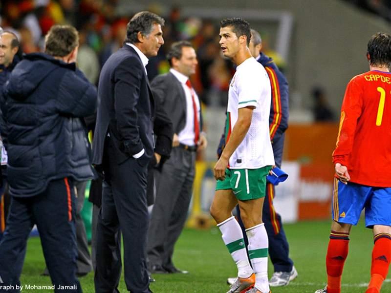 Queiroz avec Cristiano Ronaldo lorsqu'il diirgeait  la Seleçao lusitanienne